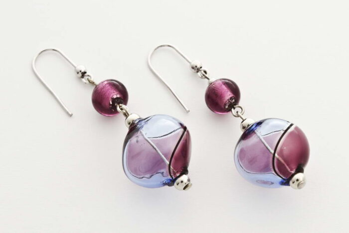 Crushed blown glass and silver leaf earrings, amethist and bluino