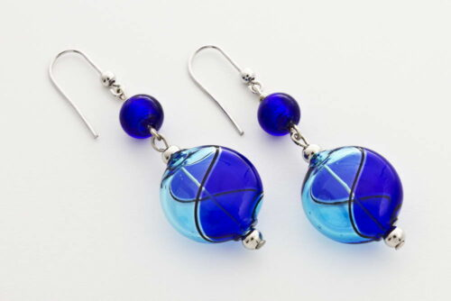 Flat blown glass and silver leaf earrings, turquoise and cobalt blue