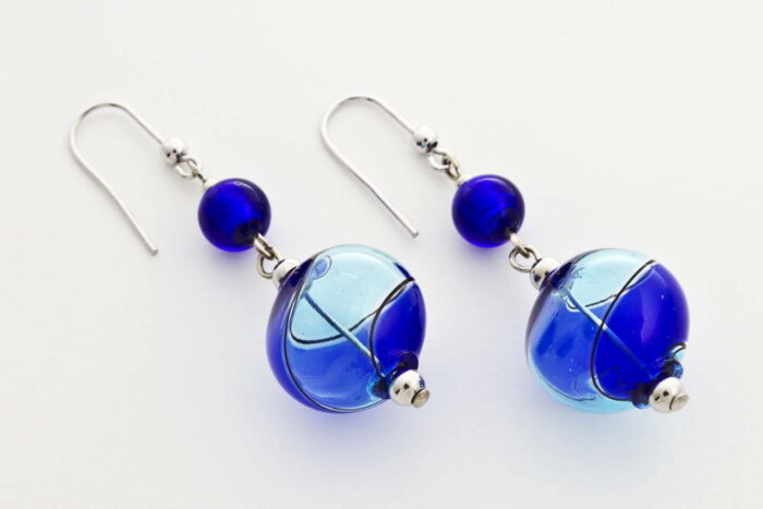 Crushed blown glass and silver leaf earrings, turquoise and cobalt blue