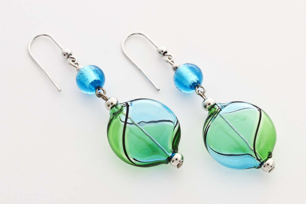 Flat blown glass and silver leaf earrings, turquoise and green