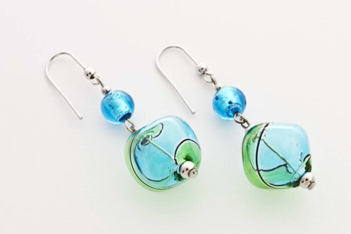 Crushed blown glass and silver leaf earrings, turquoise and green