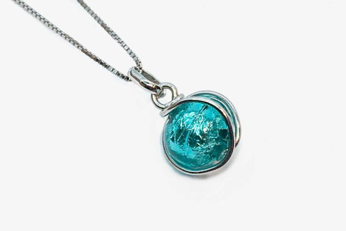 Wrapped glass and silver leaf necklace, sea green