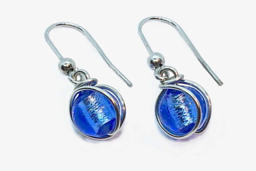 Glass and silver leaf wrapped earrings, bluino