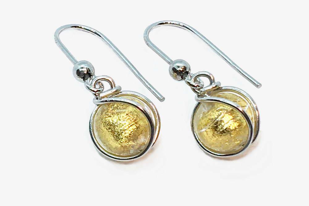 Orecchini in vetro e foglia oro avvolti, cristallo oro