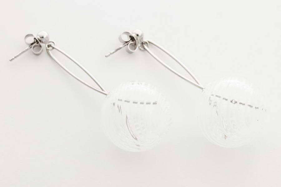 Orecchini in vetro soffiato, bianco