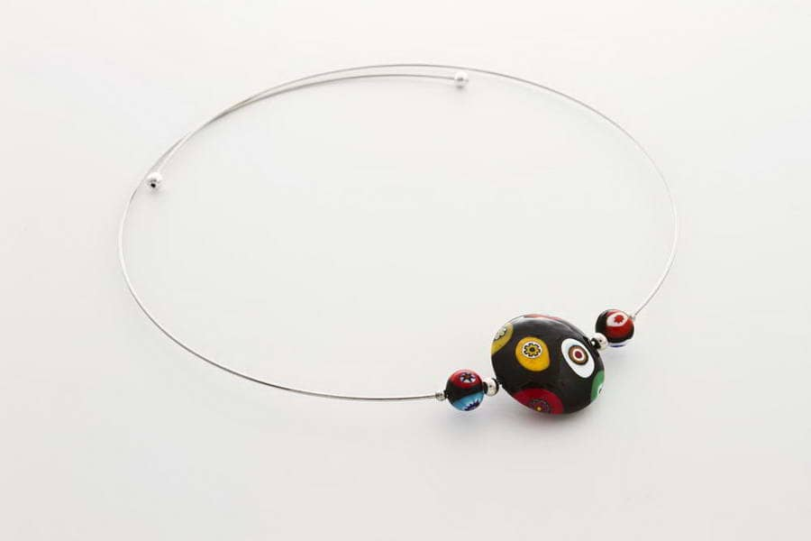 Murrina necklace, black