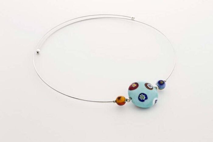 Murrina necklace, light turquoise