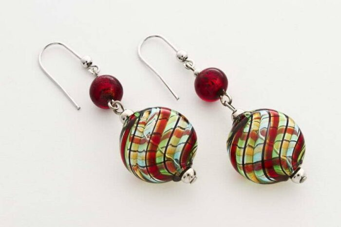 Blown glass and gold leaf flat earrings, multicolor