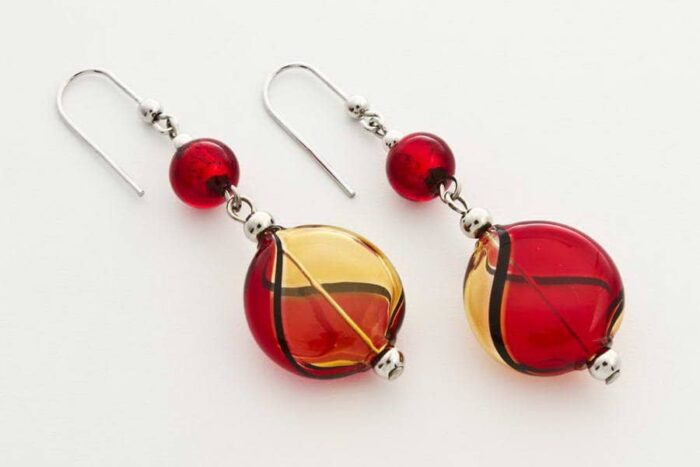 Blown glass and gold leaf flat earrings, red and light topaz