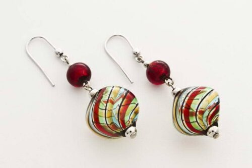 Blown glass and gold leaf crushed earrings, multicolor