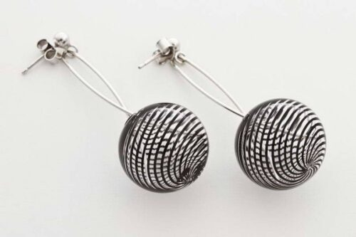 Blown glass earrings, black