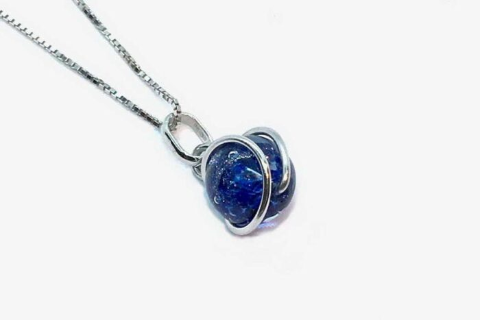 Wrapped aventurine necklace, aventurine blue